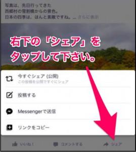 フェイスブックで他の人の投稿を自分のページでシェアする手順と方法(スマートフォン編)2